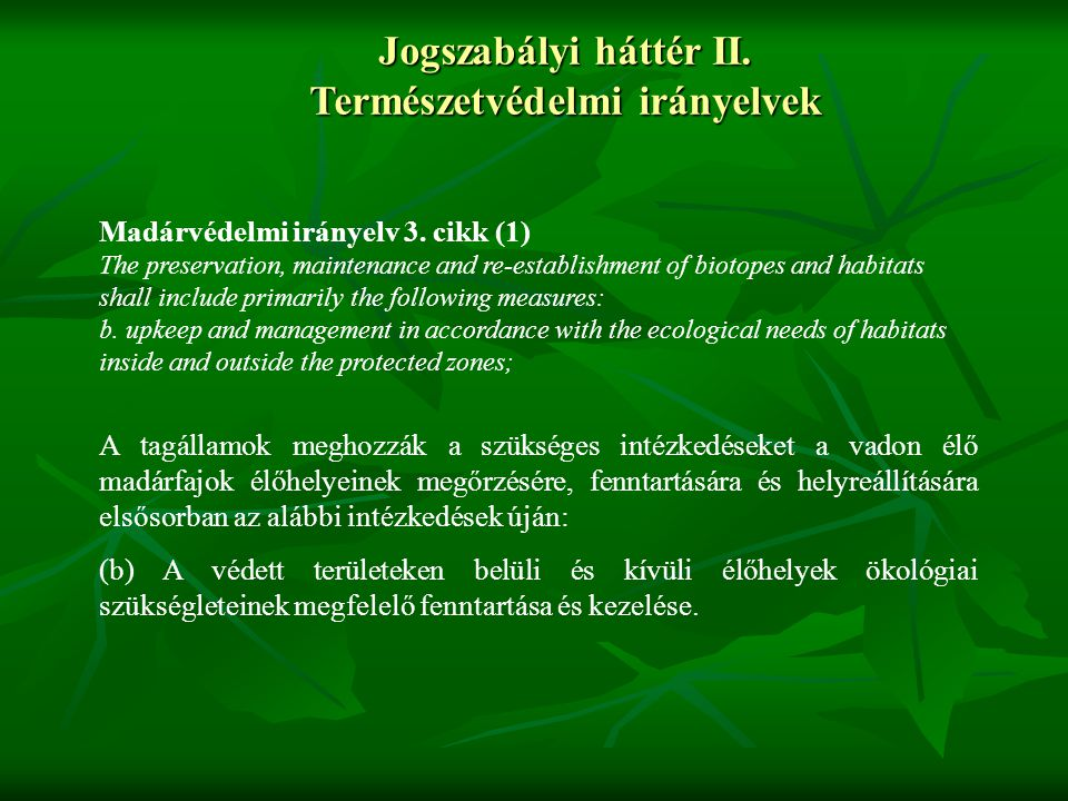 Jogszabályi háttér II. Természetvédelmi irányelvek