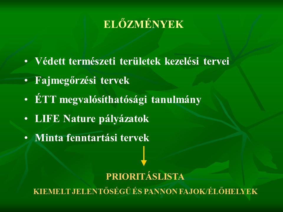 KIEMELT JELENTŐSÉGŰ ÉS PANNON FAJOK/ÉLŐHELYEK