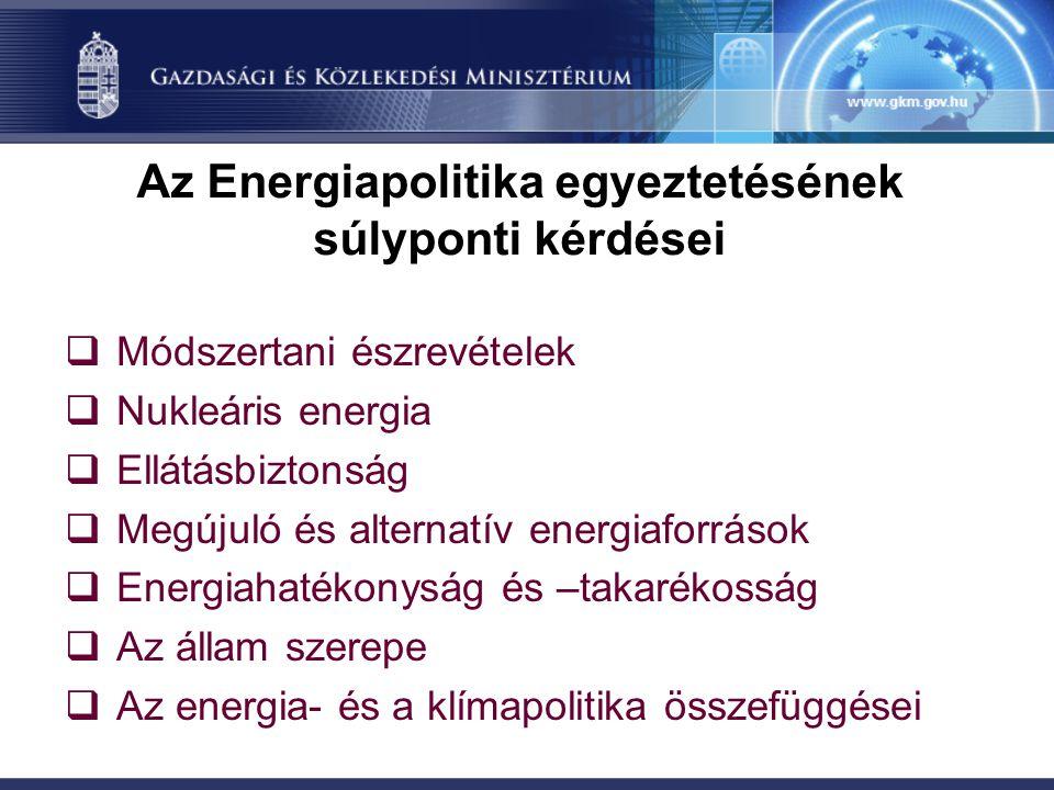 Az Energiapolitika egyeztetésének súlyponti kérdései