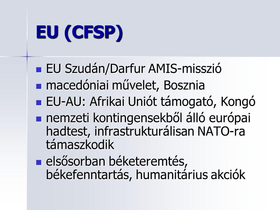 EU (CFSP) EU Szudán/Darfur AMIS-misszió macedóniai művelet, Bosznia