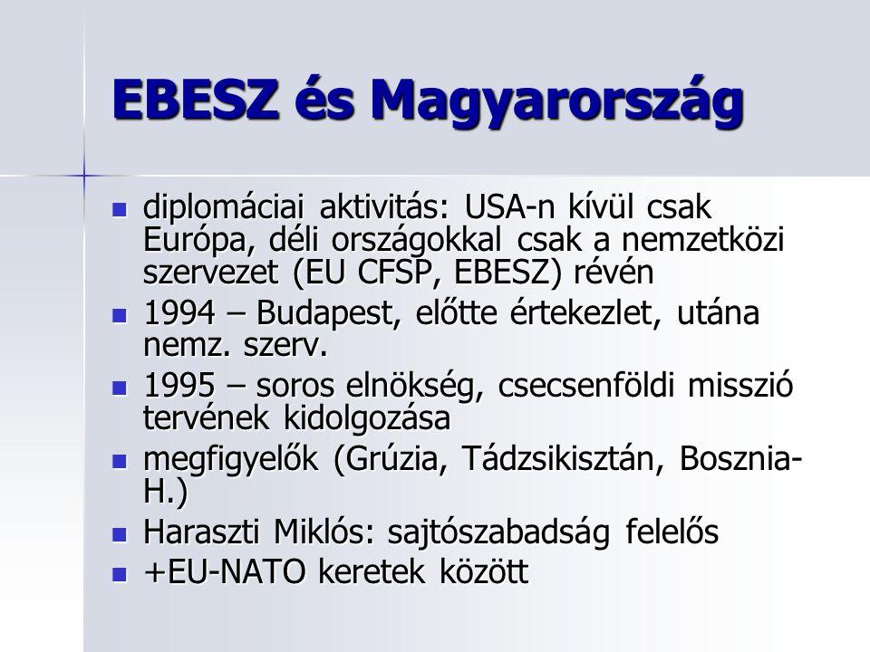 EBESZ és Magyarország diplomáciai aktivitás: USA-n kívül csak Európa, déli országokkal csak a nemzetközi szervezet (EU CFSP, EBESZ) révén.