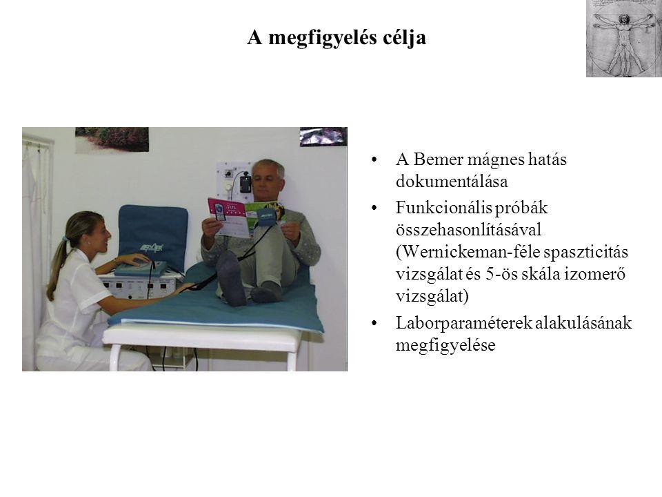 A megfigyelés célja A Bemer mágnes hatás dokumentálása
