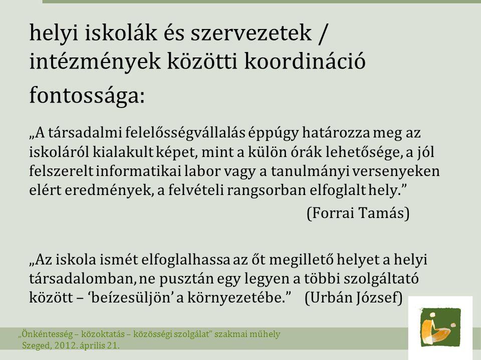 helyi iskolák és szervezetek / intézmények közötti koordináció fontossága: