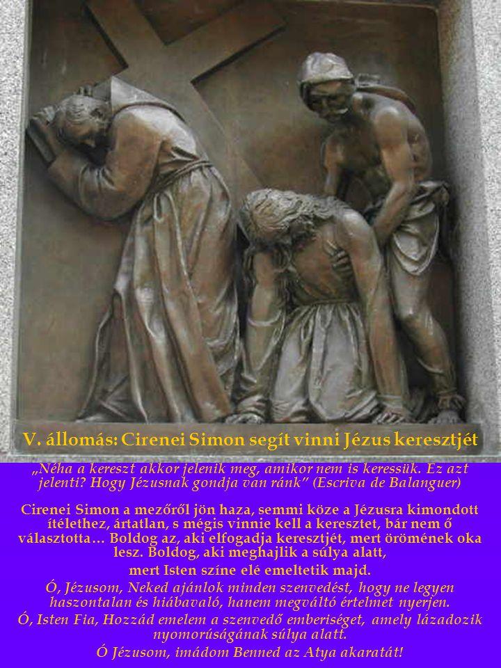 V. állomás: Cirenei Simon segít vinni Jézus keresztjét