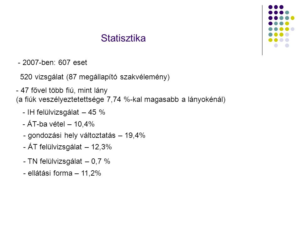 Statisztika - 2007-ben: 607 eset