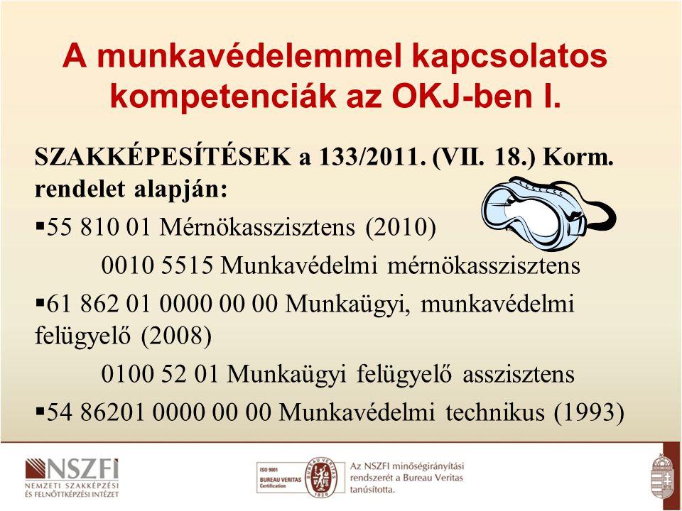 A munkavédelemmel kapcsolatos kompetenciák az OKJ-ben I.