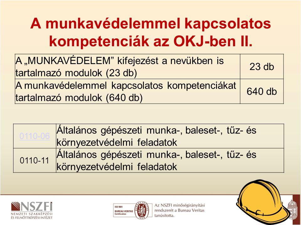 A munkavédelemmel kapcsolatos kompetenciák az OKJ-ben II.