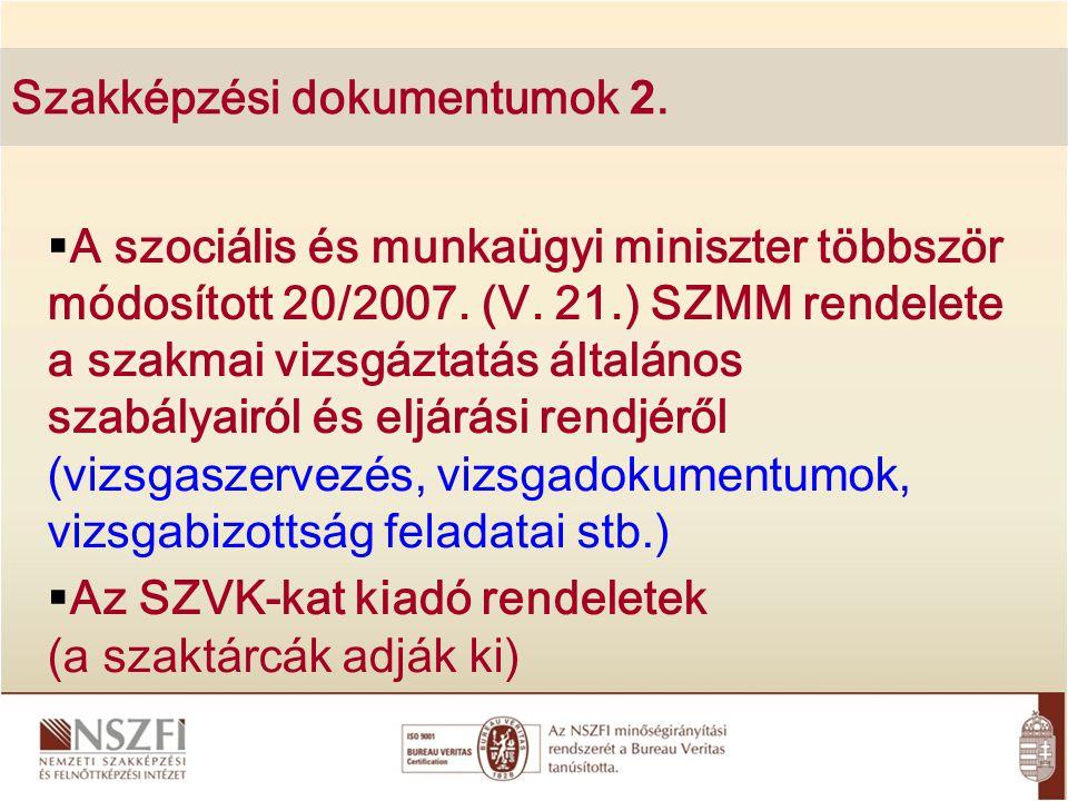 Szakképzési dokumentumok 2.