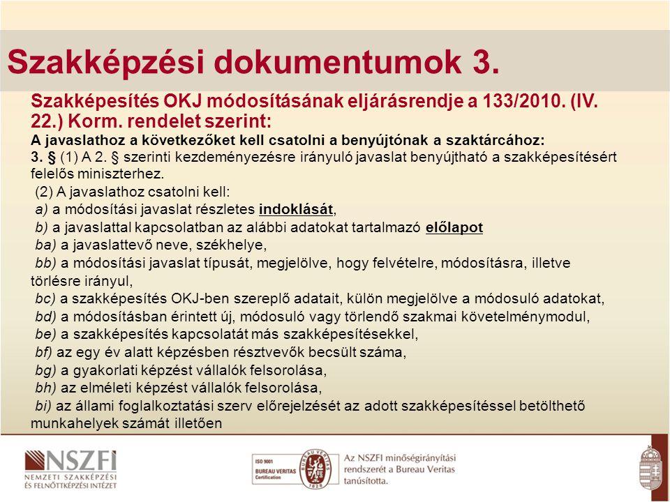 Szakképzési dokumentumok 3.
