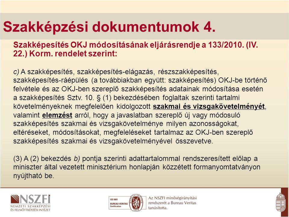 Szakképzési dokumentumok 4.