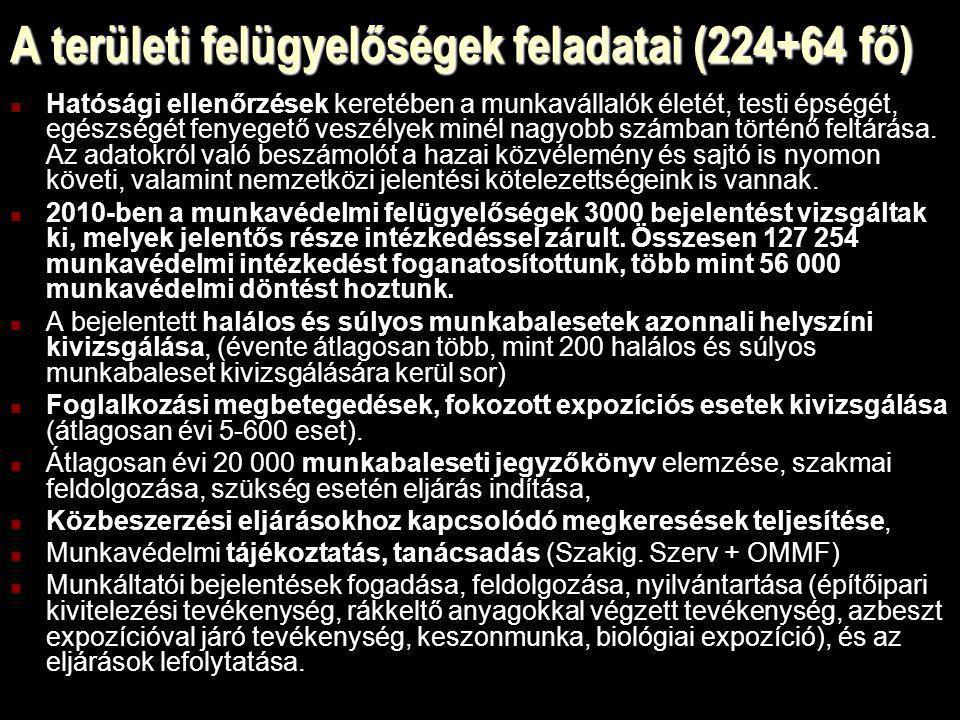 A területi felügyelőségek feladatai (224+64 fő)