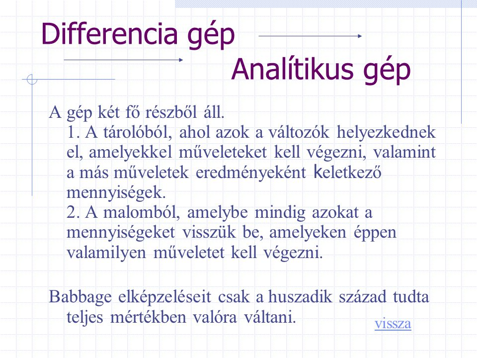 Differencia gép Analítikus gép