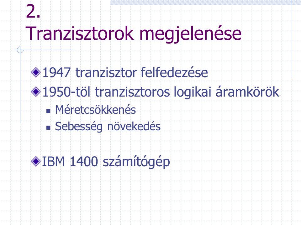 2. Tranzisztorok megjelenése