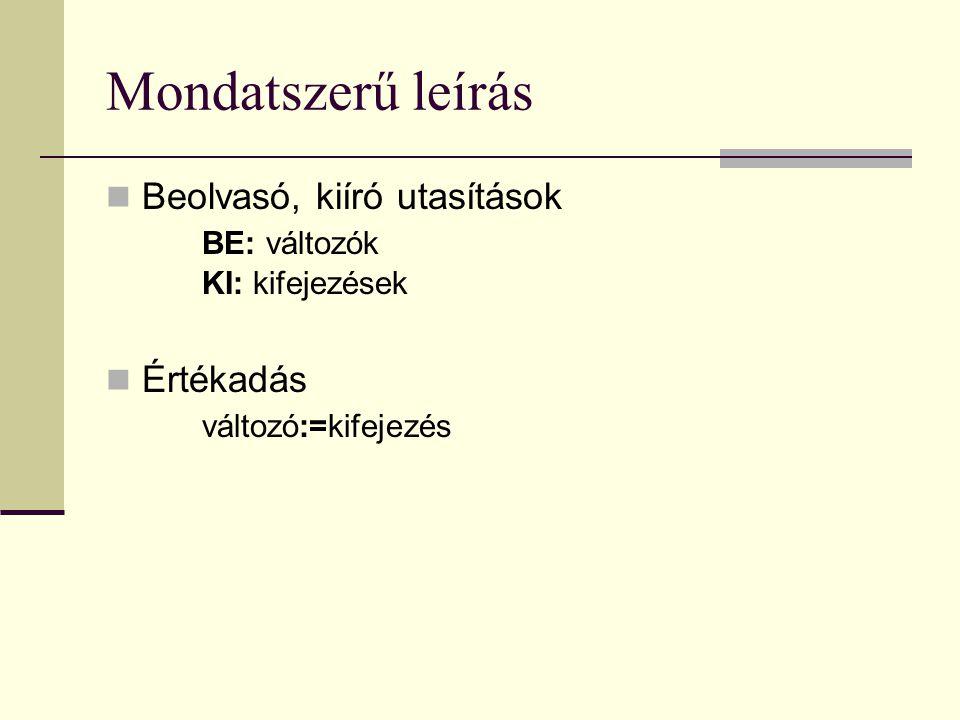 Mondatszerű leírás Beolvasó, kiíró utasítások BE: változók KI: kifejezések.