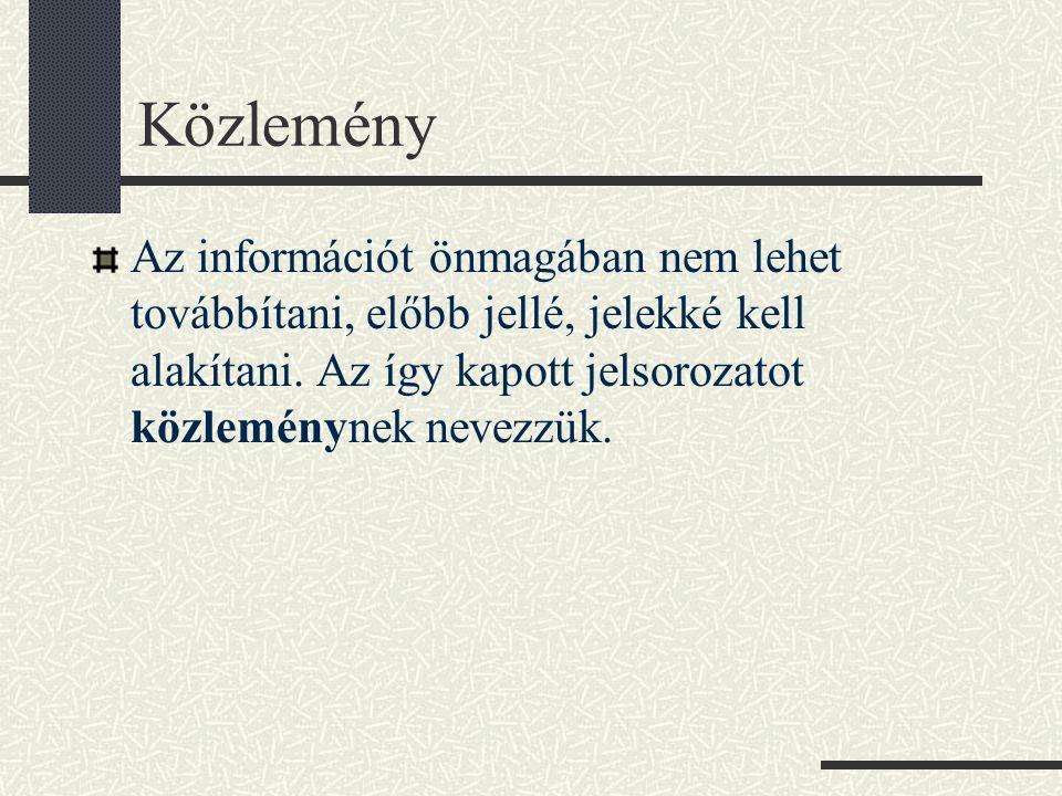 Közlemény Az információt önmagában nem lehet továbbítani, előbb jellé, jelekké kell alakítani.