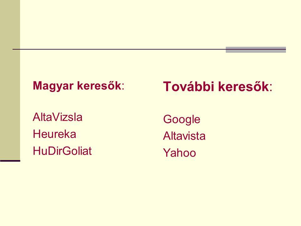 További keresők: Magyar keresők: AltaVizsla Google Heureka Altavista