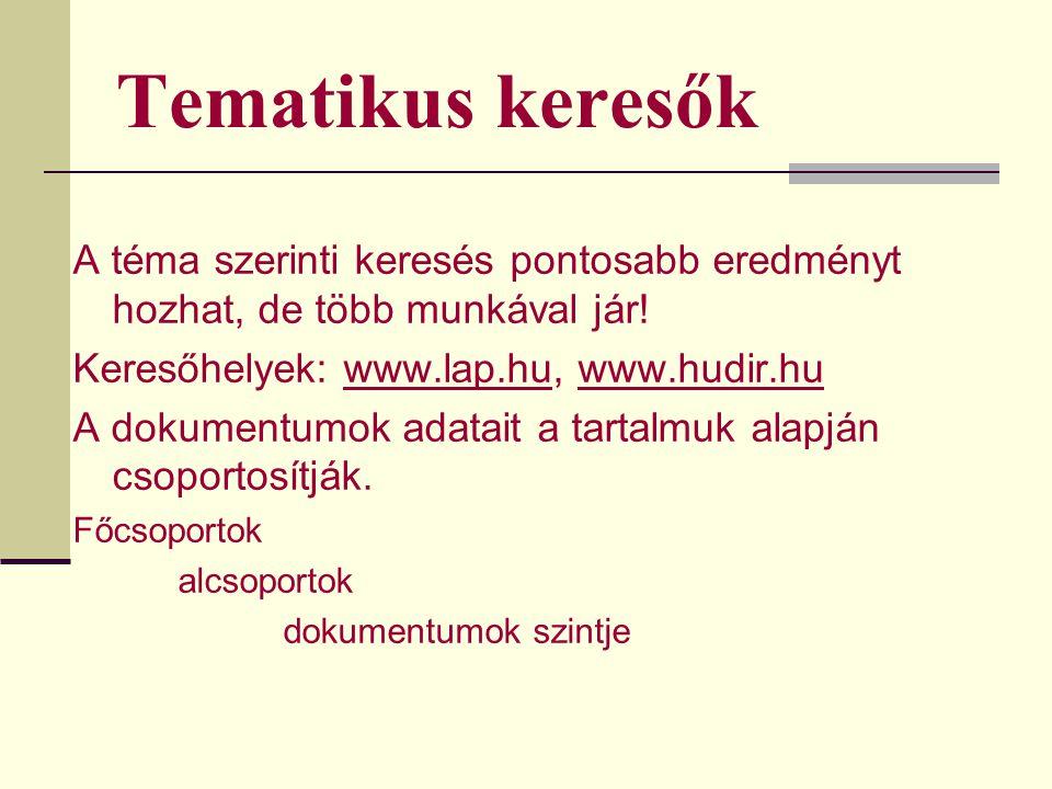 Tematikus keresők A téma szerinti keresés pontosabb eredményt hozhat, de több munkával jár! Keresőhelyek: www.lap.hu, www.hudir.hu.