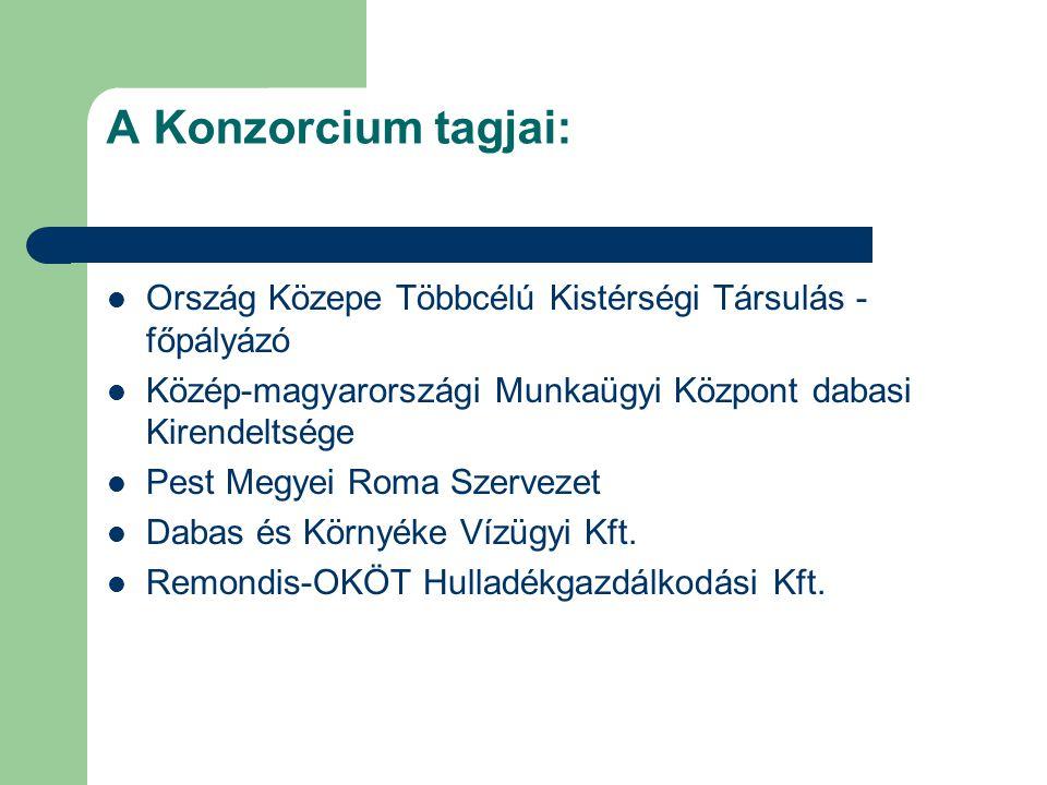 A Konzorcium tagjai: Ország Közepe Többcélú Kistérségi Társulás - főpályázó. Közép-magyarországi Munkaügyi Központ dabasi Kirendeltsége.