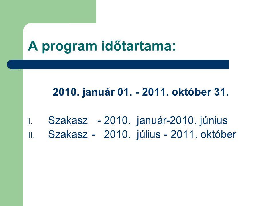 A program időtartama: 2010. január 01. - 2011. október 31.