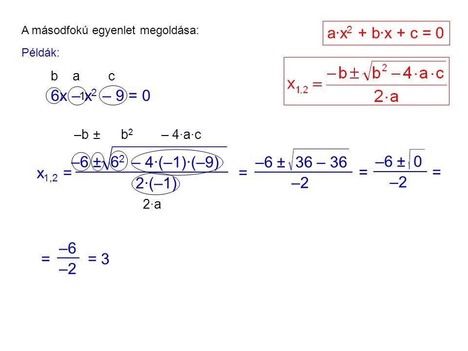 a·x2 + b·x + c = 0 6x – x2 – 9 = 0 –6 ± 62 – 4·(–1)·(–9) –6 ± 36 – 36