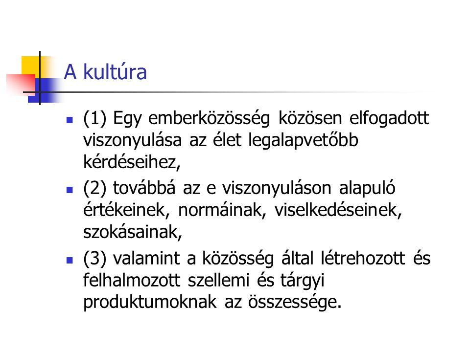 A kultúra (1) Egy emberközösség közösen elfogadott viszonyulása az élet legalapvetőbb kérdéseihez,