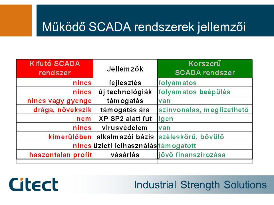 Működő SCADA rendszerek jellemzői
