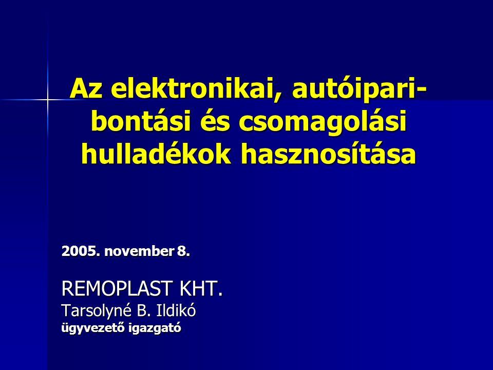 Az elektronikai, autóipari-bontási és csomagolási hulladékok hasznosítása