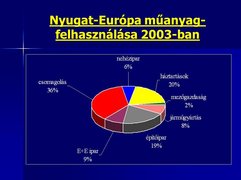 Nyugat-Európa műanyag-felhasználása 2003-ban