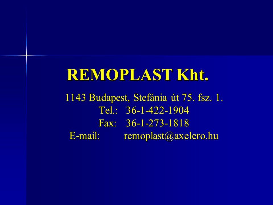REMOPLAST Kht. 1143 Budapest, Stefánia út 75. fsz. 1.