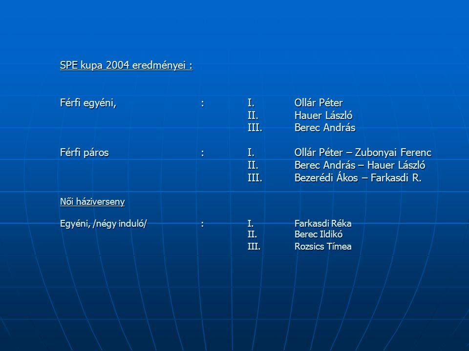 SPE kupa 2004 eredményei : Férfi egyéni,. :. I. Ollár Péter. II