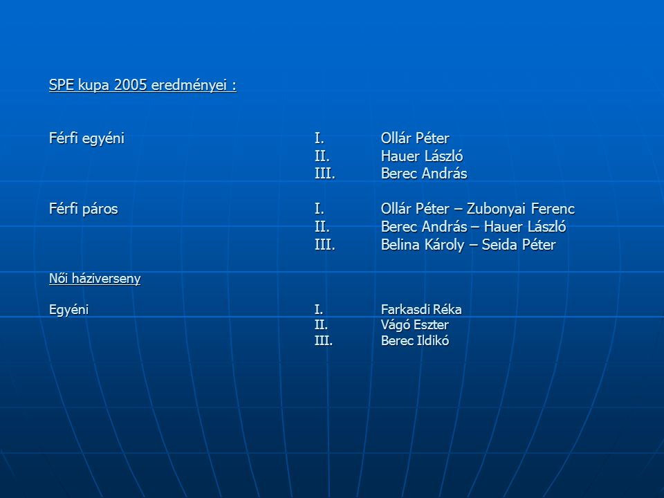 SPE kupa 2005 eredményei : Férfi egyéni. I. Ollár Péter. II