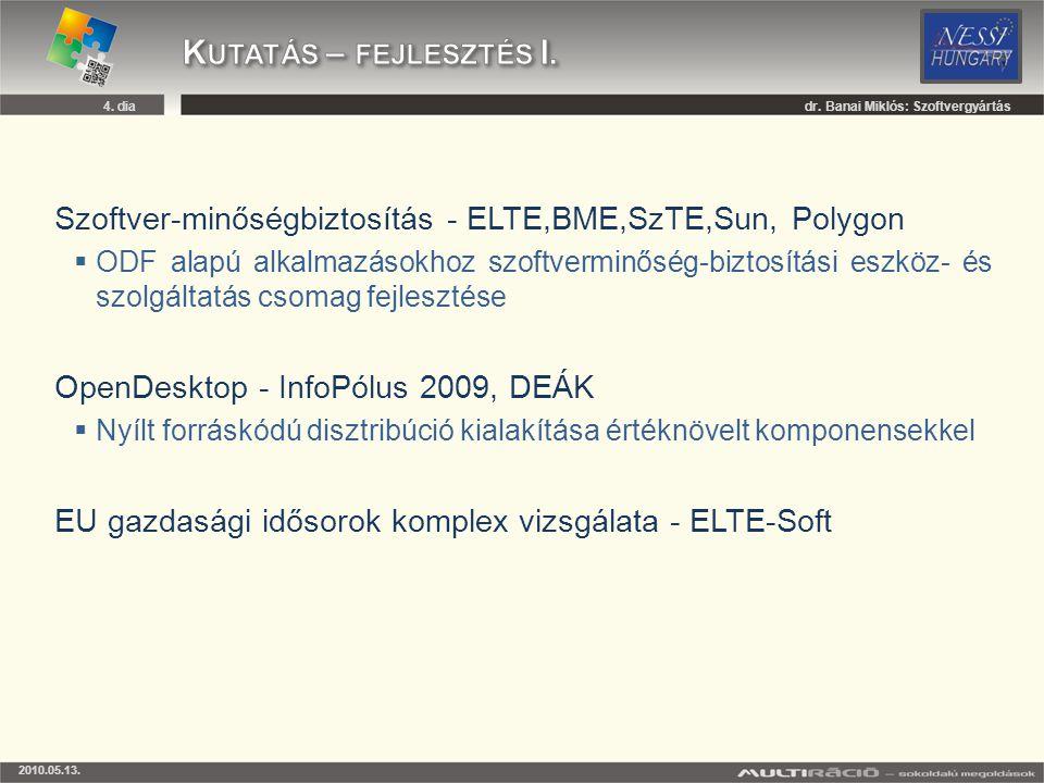 Kutatás – fejlesztés I. dr. Banai Miklós: Szoftvergyártás. Szoftver-minőségbiztosítás - ELTE,BME,SzTE,Sun, Polygon.