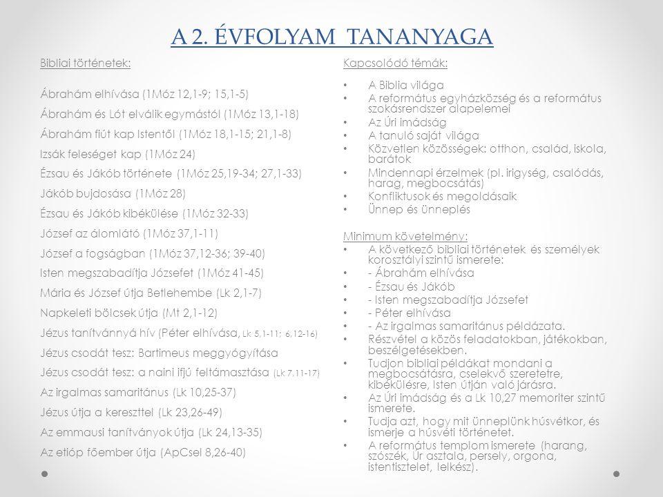 A 2. ÉVFOLYAM TANANYAGA Bibliai történetek: