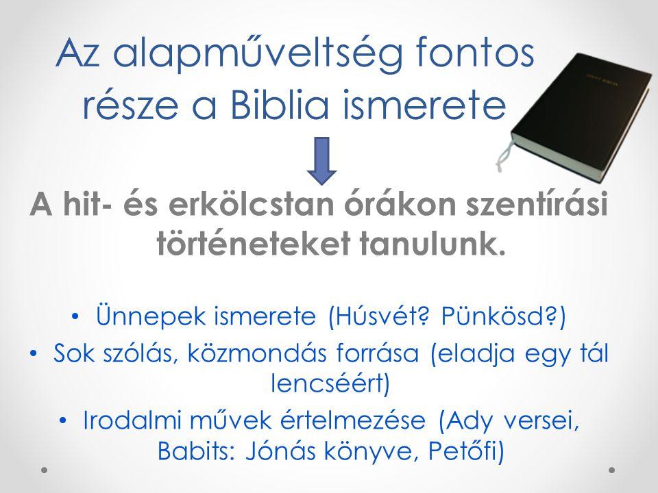 Az alapműveltség fontos része a Biblia ismerete