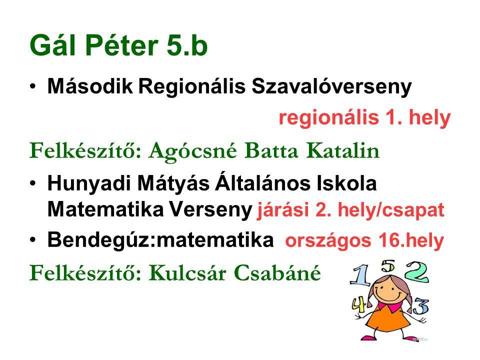 Gál Péter 5.b Felkészítő: Agócsné Batta Katalin