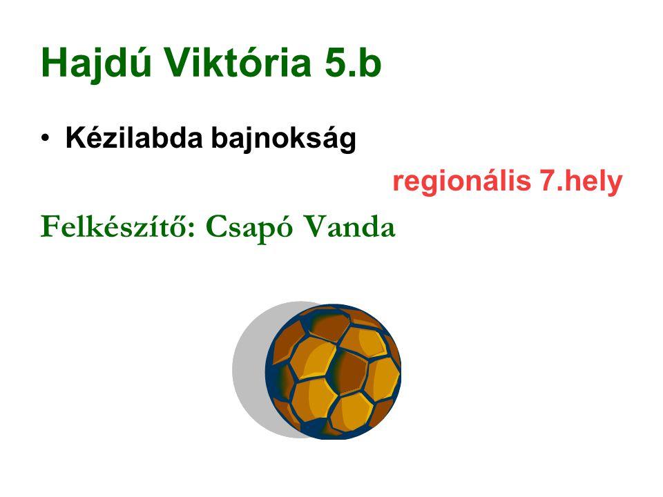 Hajdú Viktória 5.b Felkészítő: Csapó Vanda Kézilabda bajnokság