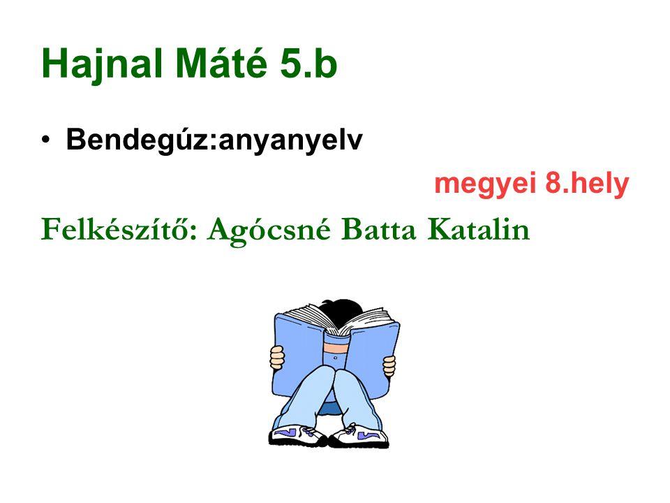Hajnal Máté 5.b Felkészítő: Agócsné Batta Katalin Bendegúz:anyanyelv