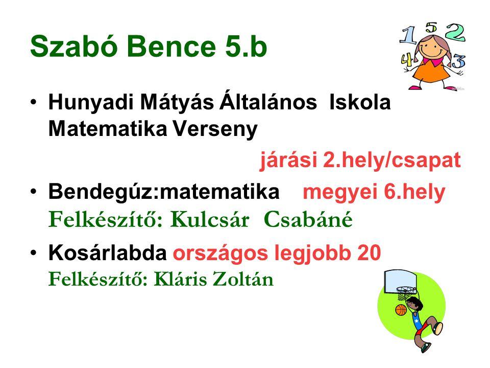 Szabó Bence 5.b Hunyadi Mátyás Általános Iskola Matematika Verseny
