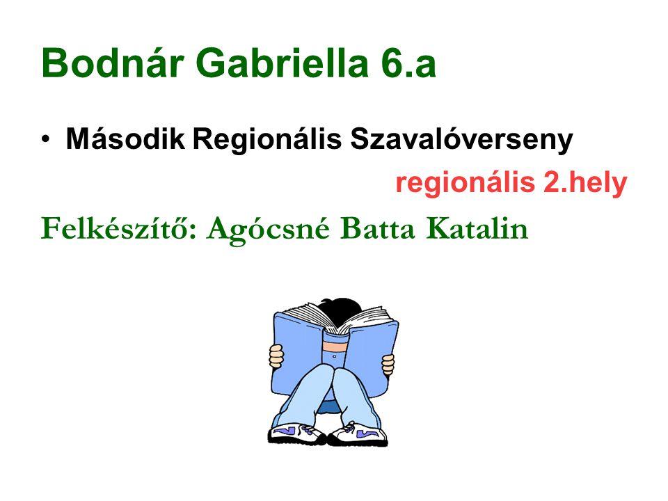 Bodnár Gabriella 6.a Felkészítő: Agócsné Batta Katalin