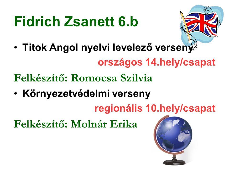 Fidrich Zsanett 6.b Felkészítő: Romocsa Szilvia