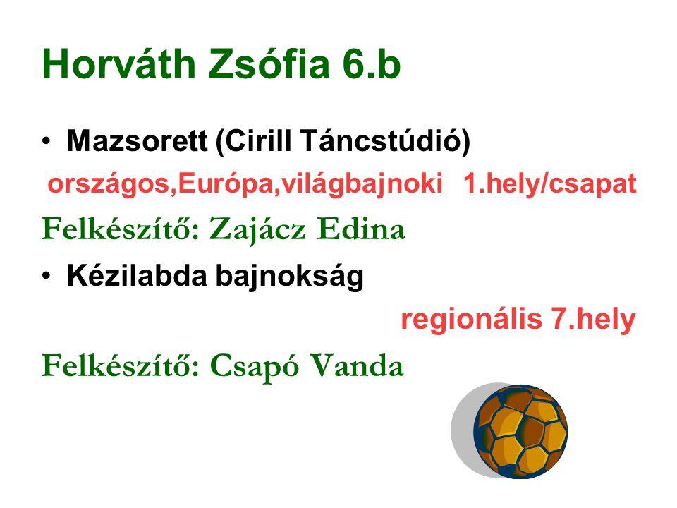 Horváth Zsófia 6.b Felkészítő: Zajácz Edina Felkészítő: Csapó Vanda