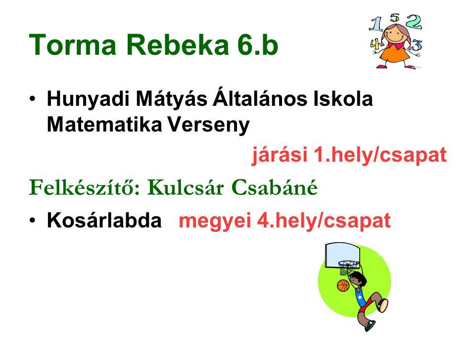 Torma Rebeka 6.b Felkészítő: Kulcsár Csabáné