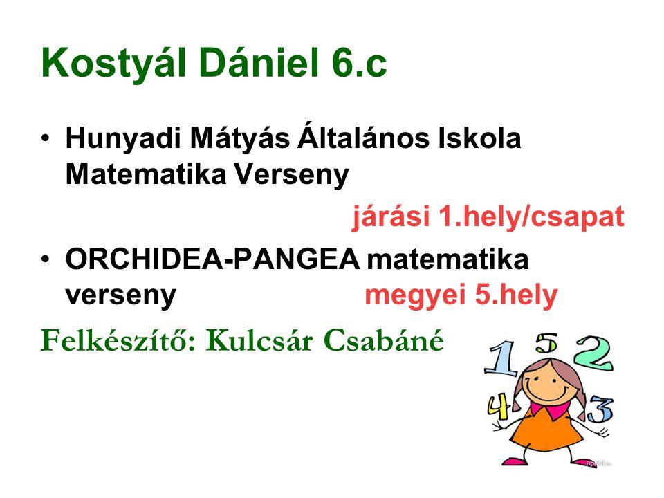 Kostyál Dániel 6.c Felkészítő: Kulcsár Csabáné