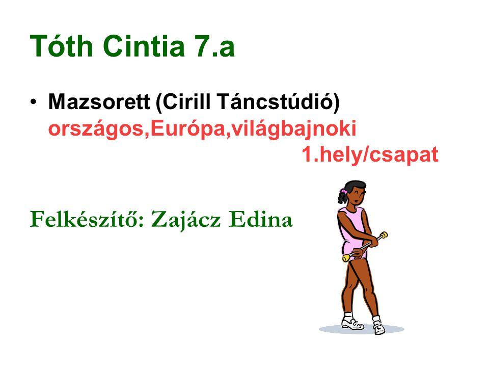 Tóth Cintia 7.a Felkészítő: Zajácz Edina