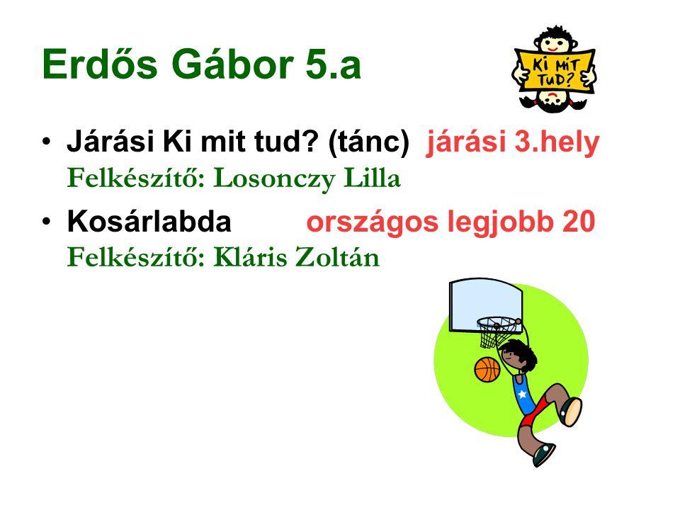 Erdős Gábor 5.a Járási Ki mit tud (tánc) járási 3.hely Felkészítő: Losonczy Lilla.