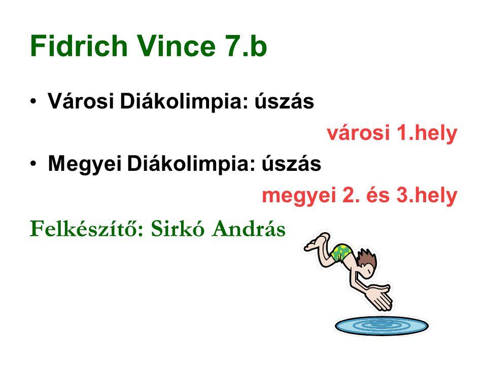 Fidrich Vince 7.b Felkészítő: Sirkó András Városi Diákolimpia: úszás
