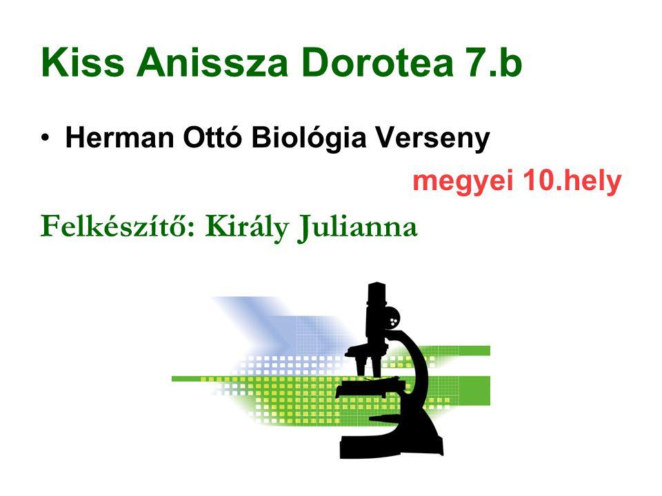 Kiss Anissza Dorotea 7.b Felkészítő: Király Julianna
