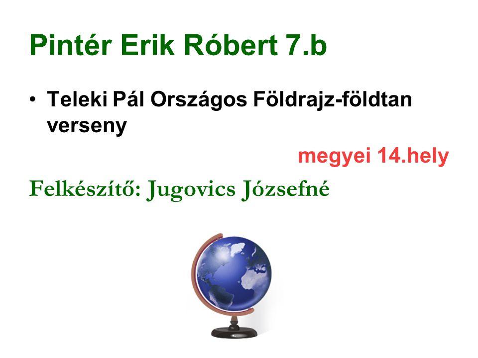 Pintér Erik Róbert 7.b Felkészítő: Jugovics Józsefné