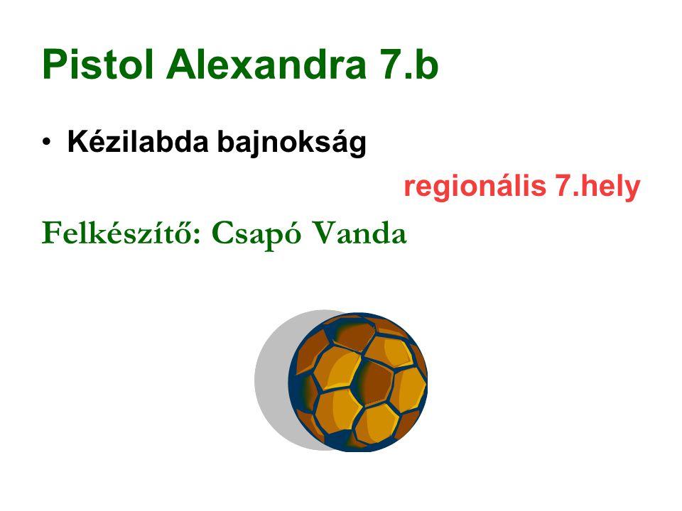 Pistol Alexandra 7.b Felkészítő: Csapó Vanda Kézilabda bajnokság