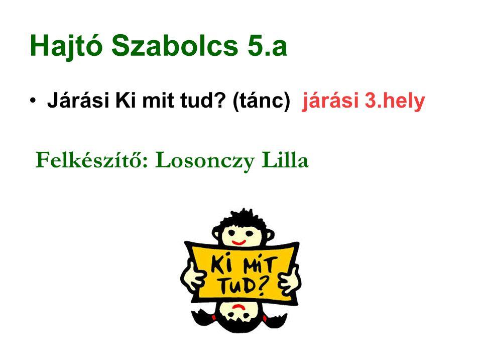 Hajtó Szabolcs 5.a Járási Ki mit tud (tánc) járási 3.hely
